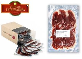 100 gr. Packung Aufschnitt Hinterschinken mit Herkunftsbezeichnung Dehesa de Extremadura Bellota
