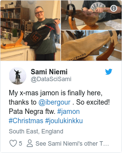My x-mas jamon is finally here, thanks to @ibergour . So excited! Pata Negra ftw. #jamon #Christmas #joulukinkku